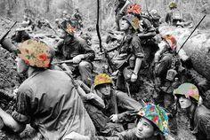 """Le Torri gemelle """"incartate"""" nelle peonie, le piramidi rivestite a fiori e poi ancora scatti di guerra, paesaggi urbani, ritratti di personaggi di altri tempi, tutti rigorosamente in bianco e nero, sotto le mani di Guy Catling artista inglese, precisamente dell'Essex, rivivono in chiave po"""