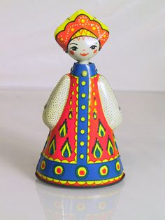 Vintage Painted Toy Tin Litho WindUp Russian by TreasureTroveDepot, $20.00