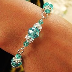 FLOWER BRACELET KIT 10MM AQUAMARINE CRYSTAL RONDELLE BEADS SILVER