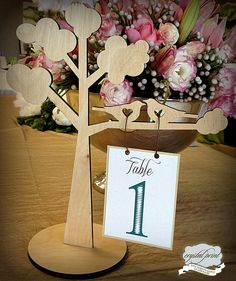 tree table number by crystalprint, via Flickr Tree Table, Wedding Inspiration, Wedding Ideas, Seating Charts, Table Numbers, Cnc, Place Cards, Wedding Invitations, Stationery