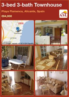 3-bed 3-bath Townhouse in Playa Flamenca, Alicante, Spain ►€84,000 #PropertyForSaleInSpain