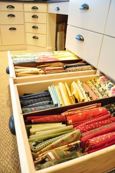The drawers have full extension slides that allow you to pull the drawer all the way out, to access the back corners of the drawer.  They are also self-closing