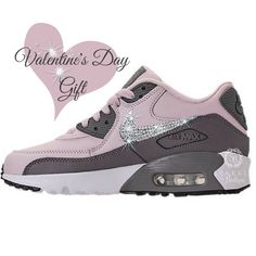 size 40 60b1c 409de Valentines Gift - Swarovski Nike Air Max 90 Leather - BLING Nike -  Bedazzled - Rose