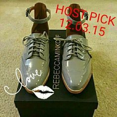 Rebecca Minkoff Maddie Cut-out Lace-up Flats Gray lace-up flats with ankle strap.  Made of patent leather. Runs at least 1/2 size big. Rebecca Minkoff Shoes Flats & Loafers