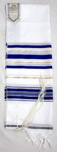 Jewish Kosher Tallit Prayer Shawl by Body-Soul-n-Spirit Judaica Galleria. $32.97. This lovely traditional tallit is a superb prayer shawl made from acrylic fibers and it is very lightweight and comfortable. The white tallit fabric has blue and gold thread patterns and it is beautifully designed and a great item to own or to give as a special judaica gift.    The tallit or talis is a prayer shawl that has special twined and knotted fringes called tzitziot that are attach...