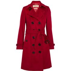 Burberry London The Sandringham cashmere trench coat ($2,380) ❤ liked on Polyvore featuring outerwear, coats, burberry coat, burberry trenchcoat, wool cashmere coat, cashmere trench coat and red trench coats