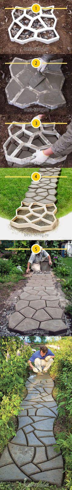 Делаем бетонную дорожку на даче с помощью пластикового шаблона (формы)