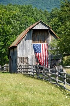 Photo about Horizontal photo of old wooden barn in Virginia with US flag fluttering from front. Image of wooden, farm, wood - 6058029 Wooden Barn, Rustic Barn, Country Barns, Old Barns, I Love America, God Bless America, Patriotic Pictures, Barn Pictures, Barn Art