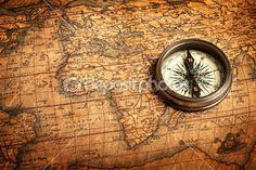 Old vintage compass on ancient map — Foto de Stock