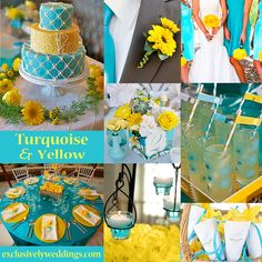 Turquoise and Yellow Wedding Colors - Turquoise and Yellow is a vibrant combination perfect for a spring or summer wedding. | #exclusivelyweddings
