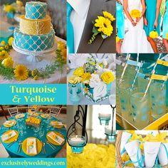 yellow weddings, idea, someday, futur, turquoise, dream, color combinations, wedding colors, color scheme