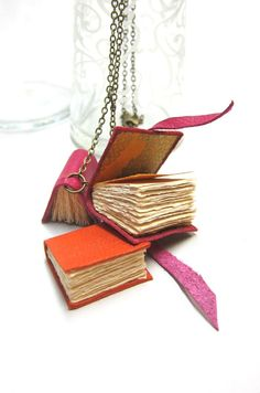 Necklace with Three Little Leather Books by Nicopapergoods on Etsy, $39.00