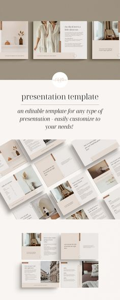 This beautiful & minimal presentation template was created to be completely customizable for your needs - use it as is, or switch things up - duplicate pages, take some out, move things around, etc. Grab this amazing, professionally designed template here! Social Media Template, Website Template, Presentation Templates, Pine, Minimal, Place Card Holders, Learning, Amazing, Creative