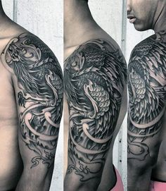 Guy's Tribal Phoenix Tattoos Half Sleeve