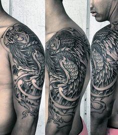 Guy's Tribal Phoenix Tattoos Half Sleeve