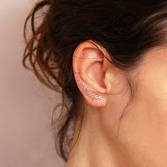 Leaves Ear pin    Ear Climber  Gold Ear Cuff   by sigalitaJD