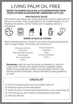 Your checklist for starting to live palm oil free.