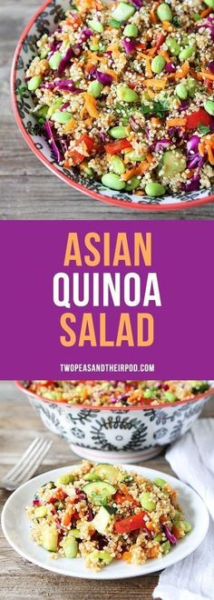 Asian Quinoa Salad-this colorful gluten-free and vegetarian salad is easy to make and full of flavor! Enjoy for lunch, dinner, or take it to a potluck! More healthy green salads for vegans @twopeasandpod #saladrecipe #healthyrecipes #glutenfreerecipe