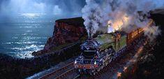 Artist John Austin - Fellow of the Guild of Railway Artists Zug Illustration, Steam Art, Old Steam Train, Flying Scotsman, Pen And Wash, Steam Railway, Train Art, Railway Posters, Train Tickets