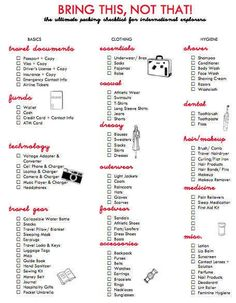 Bring this not that. Packing list. 41 Insanely Helpful Style Charts Every Woman Needs Right Now