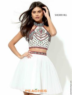 Sherri Hill Short Halter Top A Line Dress 50645