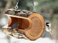 Mangeoire pour oiseaux à partir d'un rondin de bois ©inconnu