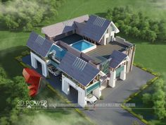 Exceptional Home Bungalow Architecture Designs 3d Architectural Rendering, Exterior Rendering, 3d Architectural Visualization, Exterior Design, Bungalow Haus Design, Bungalow Interiors, House Design, Bungalows, Indian Architecture