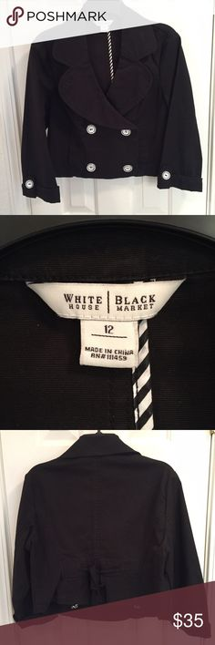 White House Black Market cropped jacket Women's size 12 White House Black Market cropped double breasted jacket with white and black buttons. 98% cotton, 2% spandex White House Black Market Jackets & Coats