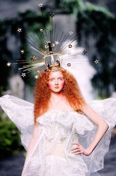 constellation crown on Lily Cole for Christian Dior