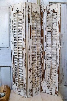 Large Wood Farmhouse Shutter White Distressed Shabby Tri-fold Wooden Wall Or…