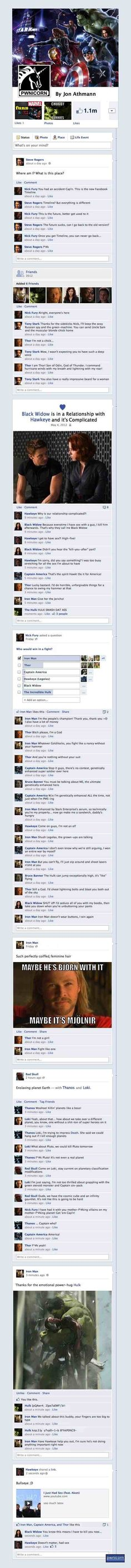 The Avengers on Facebook! OMG, I'm crying right now, and not just because it was so funny, but because it was so....awesome.