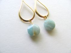 Aqua amazonite faceted dangle earrings on by MySoCalledVintage, $32.00