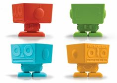 Yumbots Robot Cupcake Molds.  A great idea for a kids birthday party! Have kids decorate their own yumbot.
