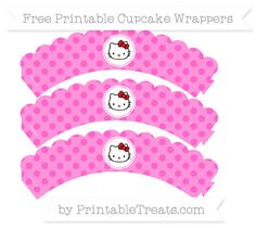 Free Rose Pink Polka Dot  Hello Kitty Scalloped Cupcake Wrappers