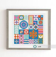 Scandinavian folk sampler stitch patternmodern pattern PDF