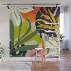 Jungle Abstract 2 Wall Mural by thindesign Creative Wall Painting, Wall Painting Decor, Mural Wall Art, Creative Walls, Wall Decor, Painted Wall Murals, Flower Mural, School Murals, Paint Designs