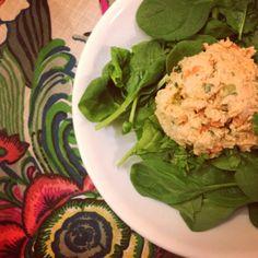 Crunchy Buffalo Chicken Salad!  No mayo sub non-fat Greek yogurt & Frank's buffalo sauce!  Delicious & low cal!  #healthy #eatclean