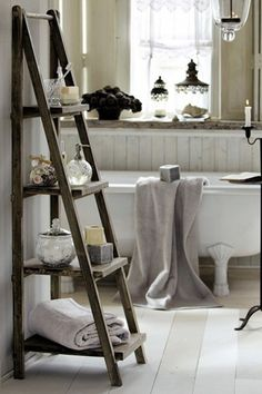 Ladder nightstand idea for headboard with lamps already attached