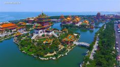 Aerial photo taken on Aug. 23, 2016 shows a scenic spot in Penglai, east China's Shandong Province.  http://www.chinatraveltourismnews.com/2016/08/scenery-of-penglai-in-east-chinas.html