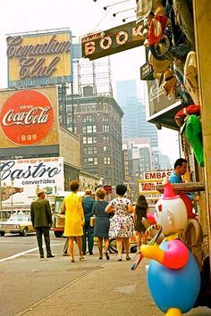 1960's fashion - Times Square, NYC, and Greenwich Village, NYC,...