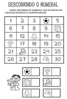 Atividade Matemática Descobrindo o numeral - Mundinho da Criança - Atividades para Educação Infantil