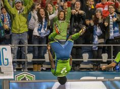 Obafemi Martins delights the CenturyLink Field faithful with his signature backflip -- coming after his goal in the 83rd minute against FC Dallas. (Photo by Dean Rutz / The Seattle Times)