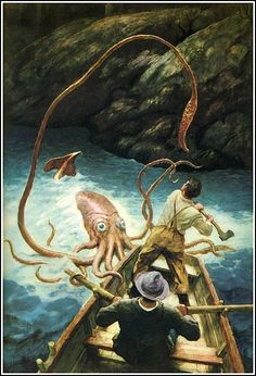 "N.C. Wyeth illustration from ""The Anthology of Children's Literature"" (1940).  One of these days I'm going to gather all my cephalopod/tentacle stuff on a separate board.  Haven't quite reached that threshold yet.  :)"