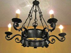 Antique hand forged hammered iron 6 light by europeanlighting, $3450.00