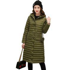 2017 Winter Jacket Women Hooded Long Coat Female Single-Breasted Down Cotton Coat Jackets Parka Jaqueta Feminina Inverno C3462 #Affiliate