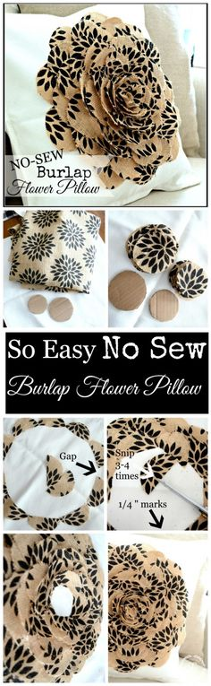 NO SEW BURLAP FLOWER PILLOW so easy to make-cut, glue, done So pretty!