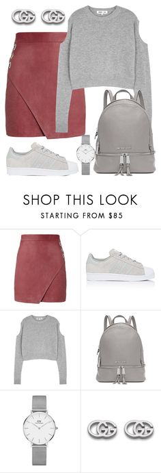 """""""College Girl."""" by gatocat ❤ liked on Polyvore featuring Michelle Mason, adidas, McQ by Alexander McQueen, Michael Kors, Daniel Wellington and Gucci"""