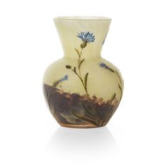 DAUM, NANCY CAMEO GLASS VASE, CIRCA 1900 acid etched and enamelled with cornflowers and gilt, cameo mark, DAUM NANCY and cross of Lorraine