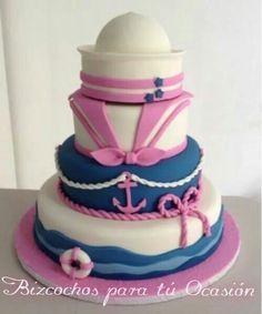 Nautical cake girl Baby Shower Niño, Tea Party Baby Shower, Baby Shower Cakes, Nautical Cake, Nautical Party, Baby Shower Marinero, Girl Cakes, Cute Cakes, Eat Cake