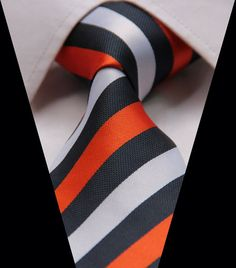 Orange Stripe 3.15'' Jacquard Woven Classic 100%Silk Men's Tie